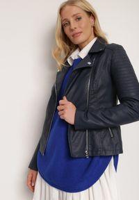 Renee - Granatowa Ramoneska Daeipheme. Kolor: niebieski. Materiał: tkanina. Długość: długie. Wzór: kwiaty, aplikacja