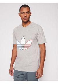 Adidas - adidas T-Shirt adicolor Tricolor GQ8917 Szary Regular Fit. Kolor: szary