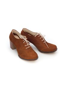 Zapato - sznurowane półbuty na 6 cm słupku - skóra naturalna - model 251 - kolor rudy nubuk. Kolor: brązowy. Materiał: nubuk, skóra. Obcas: na słupku