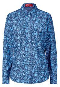 Bluzka dżinsowa, długi rękaw bonprix ciemnoniebieski z nadrukiem. Kolor: niebieski. Długość rękawa: długi rękaw. Długość: długie. Wzór: nadruk. Styl: klasyczny