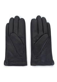 Wittchen - Męskie rękawiczki z plecionej skóry. Kolor: czarny. Materiał: skóra. Wzór: kratka, aplikacja. Sezon: jesień, zima. Styl: elegancki