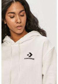 Biała bluza Converse na co dzień, casualowa, z kapturem, gładkie