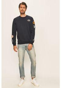 Niebieska bluza nierozpinana Pepe Jeans z okrągłym kołnierzem, na co dzień, z aplikacjami, casualowa