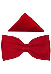 Modini - Czerwona mucha męska - szeroka B41. Kolor: czerwony. Materiał: tkanina, poliester. Styl: elegancki