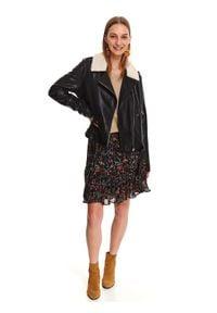 TOP SECRET - Ramoneska ze skóry ekologicznej. Kolor: czarny. Materiał: skóra ekologiczna. Długość rękawa: długi rękaw. Długość: długie. Sezon: jesień