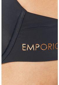 Niebieski biustonosz Emporio Armani gładki, push-up
