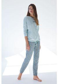 Women Secret - women´secret - Piżama. Kolor: turkusowy. Materiał: bawełna. Długość: długie. Wzór: nadruk