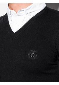 Ombre Clothing - Sweter męski E120 - czarny - XXL. Typ kołnierza: dekolt w serek, kołnierzyk koszulowy. Kolor: czarny. Materiał: materiał, nylon, bawełna. Styl: klasyczny