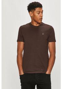 Brązowy t-shirt AllSaints na co dzień, casualowy