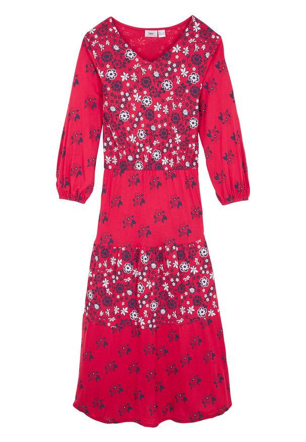 Długa sukienka dziewczęca patchworkowa z falbanami bonprix czerwony