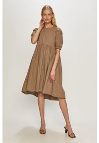 Vero Moda - Sukienka. Kolor: szary. Materiał: tkanina. Długość rękawa: krótki rękaw. Wzór: gładki