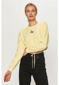 Puma - Bluza. Kolor: żółty. Materiał: dzianina