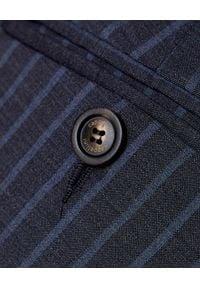 CAPPELLINI - Szare spodnie w prążki. Kolor: szary. Materiał: wełna, prążkowany, materiał. Wzór: prążki