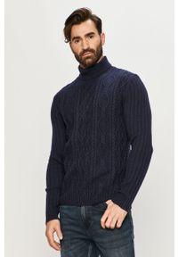 Niebieski sweter Tailored & Originals casualowy, z długim rękawem