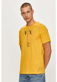 Żółty t-shirt Armani Exchange na co dzień, casualowy