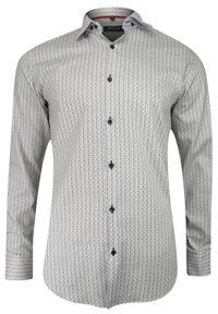Biała elegancka koszula Bello z długim rękawem, w geometryczne wzory, długa