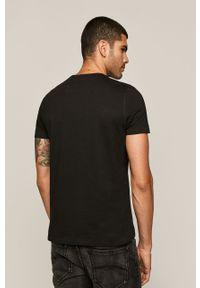 Czarny t-shirt medicine z okrągłym kołnierzem, z nadrukiem