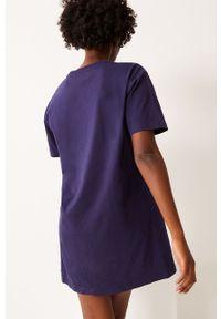 Undiz - Koszula nocna ROCKSTITCHIZ. Kolor: niebieski. Materiał: bawełna, dzianina. Długość: krótkie. Wzór: nadruk