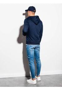 Ombre Clothing - Bluza męska rozpinana z kapturem B977 - granatowa V - XXL. Typ kołnierza: kaptur. Kolor: niebieski. Materiał: poliester, bawełna. Styl: klasyczny