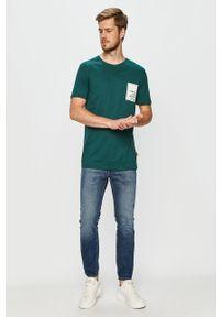 Wielokolorowy t-shirt John Frank na co dzień, z nadrukiem, casualowy