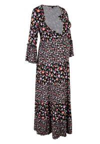 Czarna sukienka bonprix moda ciążowa, w kwiaty, maxi
