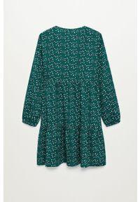 Zielona sukienka Mango Kids midi, z długim rękawem