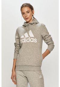 Adidas - adidas - Bluza. Okazja: na co dzień. Kolor: szary. Długość rękawa: długi rękaw. Długość: długie. Wzór: nadruk. Styl: casual