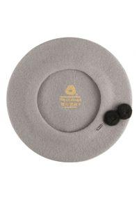 Wittchen - Damski beret wełniany z pomponami. Kolor: szary. Materiał: wełna. Wzór: aplikacja. Sezon: zima. Styl: klasyczny