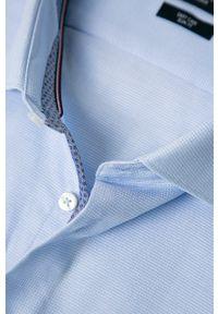 Niebieska koszula Tommy Hilfiger Tailored z włoskim kołnierzykiem, długa, casualowa