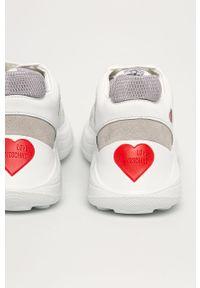Białe buty sportowe Love Moschino na średnim obcasie, na sznurówki, na obcasie, z okrągłym noskiem