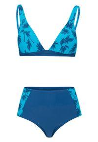 Bikini bustier (2 części) bonprix ciemnoniebiesko-turkusowy z nadrukiem. Kolor: niebieski. Wzór: nadruk