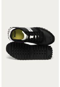 Czarne sneakersy Blauer na sznurówki, z okrągłym noskiem, z cholewką