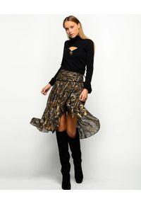 Pinko - PINKO - Asymetryczna spódnica we wzory Gaudenzio. Kolor: czarny. Materiał: tkanina, kaszmir, zamsz, jedwab. Sezon: lato. Styl: klasyczny