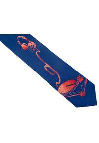 Modini - Granatowy krawat dla DJ'a D149. Kolor: niebieski. Materiał: tkanina, mikrofibra