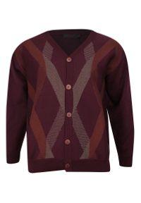 Czerwony sweter Kings elegancki, w geometryczne wzory
