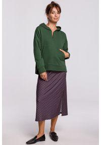 e-margeritka - Bluza bawełniana z kapturem zielona - l/xl. Okazja: na co dzień. Typ kołnierza: kaptur. Kolor: zielony. Materiał: bawełna. Długość: krótkie. Styl: casual
