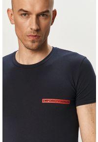 Emporio Armani Underwear - Emporio Armani - T-shirt. Kolor: niebieski. Materiał: dzianina. Wzór: gładki