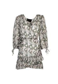 Sukienka John Richmond mini, z dekoltem w serek, dopasowana, z nadrukiem