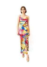 COSEL - Wzorzysta sukienka Anthos Coral. Okazja: na imprezę. Kolor: czerwony. Materiał: tkanina, jedwab, materiał. Długość rękawa: na ramiączkach. Wzór: aplikacja. Sezon: lato. Styl: wakacyjny. Długość: midi #5