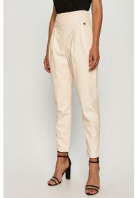 Beżowe spodnie materiałowe TwinSet z podwyższonym stanem