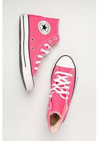 Różowe tenisówki Converse na sznurówki, na obcasie