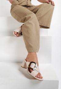 Renee - Beżowe Klapki Lorexie. Nosek buta: otwarty. Kolor: beżowy. Materiał: jeans. Wzór: geometria, aplikacja. Obcas: na słupku