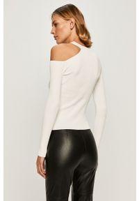 Biały sweter Guess Jeans długi, z długim rękawem