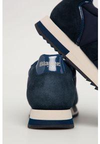 Niebieskie sneakersy Blauer z okrągłym noskiem, z cholewką, na sznurówki