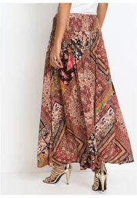 Spódnica kopertowa bonprix beżowy z nadrukiem. Kolor: beżowy. Długość: długie. Wzór: nadruk #6
