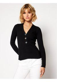 Czarny sweter klasyczny Guess z kołnierzem typu henley