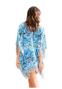 Niebieska tunika bonprix długa, na plażę, elegancka