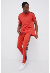 Kappa - T-shirt bawełniany. Okazja: na co dzień. Kolor: pomarańczowy. Materiał: bawełna. Wzór: aplikacja. Styl: casual