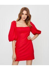 Czerwona sukienka mini casualowa, na co dzień