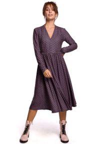 MOE - Wzorzysta Rozkloszowana Sukienka z Suwakiem - Model 2. Materiał: poliester, elastan, bawełna